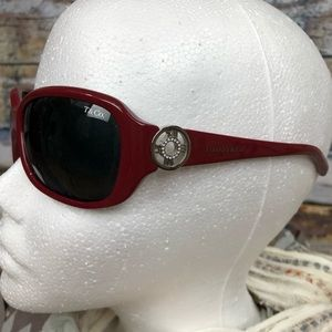 Tiffany & Co red sunglasses with crystal clock